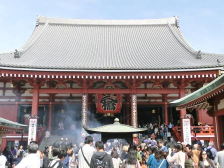 The main building of Sensoji-Temple and the smoke.